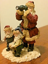 Vintage Santa Claus w/ telescope & elves Ceramic Christmas Figurine
