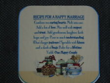 "6 fabric pieces 6.5""x6.5"" - ""RECIPE FOR A HAPPY MARRIAGE"""