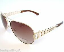 NEW GUESS GOLD TONE RINGS,FRAME+BROWN 100% UV LENS AVIATOR SUNGLASSES+POUCH