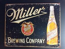 Miller Brewing Company TIN SIGN Vtg Bottle Beer Bar Metal Wall Decor Pup