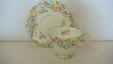 VINTAGE UNIQUE FOLEY BONE CHINA ENGLAND FLORAL PASTEL FOOTED CUP SAUCER