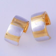 Vintage Yellow silver Gold Filled Womens round small Hoop Earrings Simple