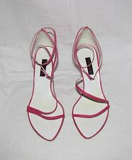Escada Hot Pink Leather Strappy Open Toe D'Orsay Ankle Strap Heel Sandal 38 NEW