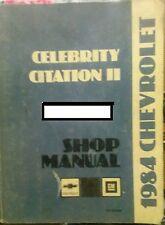 1984 Chevrolet Celebrity Citation II Shop Manual General Motors mechanic service