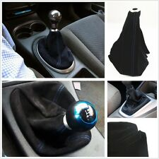 UNIVERSAL BLUE STITCH BLACK SUEDE MANUAL/AUTOMATIC SHIFTER SHIFT GEAR BOOT COVER