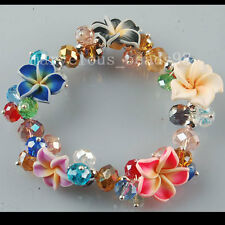 "Multicolor Porcelain Flower Crystal Faceted Beads Stretch Bracelet 7""  G6077"