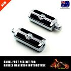 Chrome Skull Footpeg Set Pair Male Mount Harley Chopper Bobber Custom XL TDRMOTO