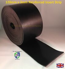 SOLID PLY REINFORCED INSERTION SIDE SKIRT NEOPRENE RUBBER STRIP 5mtr or 10mtr