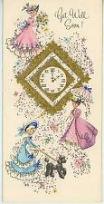 VINTAGE VICTORIAN WOMEN GIRL DRESS PARASOLS CLOCK FRENCH POODLE DOG CARD PRINT