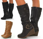 NEW WOMANS LADIES BLACK BROWN WEDGE CALF PLATFORM KNEE HIGH HEEL BOOTS SIZE