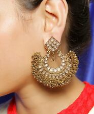 CE-605 Indian Bollywood Style Gold Plated Polki Earring Party wear Jewelry