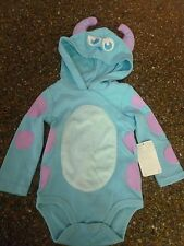 Disney Baby Sulley Monsters Inc Costume Sz 9-12 Mth One Piece Bodysuit, Hood NWT