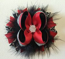 Handmade Black,Red,Silver Christmas Stacked Boutique Hair Bows