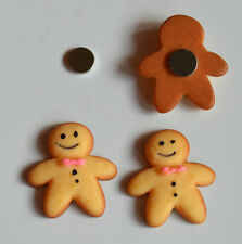 Funky Small Gingerbread Man‎  Magnetic CLIP ON Earrings Stud Non pierced