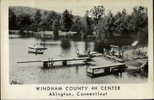 Abington CT Windham County 4h Camp Swimming Docks Real Photo Postcard