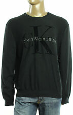 New Calvin Klein Jeans Flocked Logo Crew Neck Black Pullover Sweater XXL