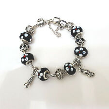 NEW Silver Black White Flower Murano Beads Charm Bracelet Brighton Bay