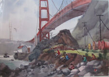 Jade Fon Signed Watercolor of the Golden Gate Bridge