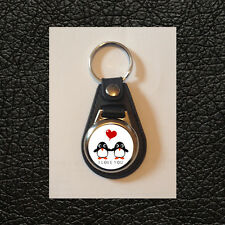 I LOVE YOU - CUTE PENGUINS - FAUX LEATHER KEYRING - GREAT GIFT IDEA - FREE POST