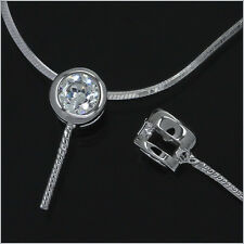 1PC Fine Sterling Silver CZ Pendant Bail Charm Connector Pearl Cup Pin #99315