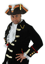 Pirate Hat The Gov'nah Blk Faux Suede Tricorn Hat With Red & Gold Feather Trim