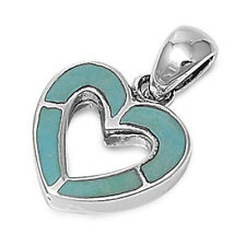"BEST SELLER NATURAL Turquoise Heart .925 Sterling Silver Pendant .5"""