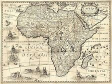 ART PRINT POSTER MAP OLD CONTINENTAL AFRICA BERTIUS NOFL0674