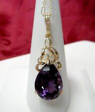 14K YELLOW GOLD 4 CTW PEAR SHAPE AMETHYST & DIAMOND DROP DOWN PENDANT NECKLACE