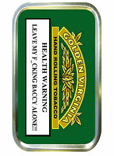 GOLDEN VIRGINIA WARNING 1oz GOLD TOBACCO TIN,PILL TIN,BACCY TIN, POCKET TIN