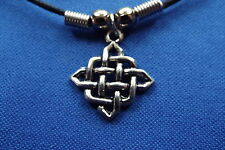 """Celtic Knot Diamond Cosmic Pewter Pendant - 16"""" Boot Lace Clasped Cord Necklace"""