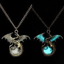 Fashion Punk Glow in the Dark Retro Dragon Pendant Necklace Silver Chain Jewelry