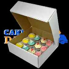 50 X 12 Cupcake (Corr) White Extra Deep Box with 6cm Div FREE NEXT DAY DELIVERY