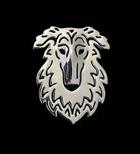 Borzoi Dog Brooch or Pin -Fashion Jewellery Silver Plated, Stud Back