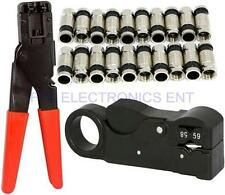 20Pcs RG6 Compression Connectors Wire Cable Stripper Crimping Ratchet Tool Coax