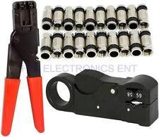 20Pcs RG6 Compression Connectors Wire Cable Stripper Crimping Ratchet Tool Coax