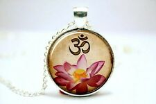 Glass Dome Cabochon Pendant NECKLACE Chain Buddhism Zen Yoga OHM Lotus Flower #A