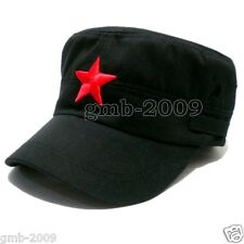Vintage Army Cadet Military Cap Men Women Adjustable Red Star Cotton Hat Black