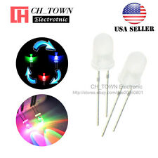 100pcs Diffused 5mm RGB 2 Pin Flash Rainbow Fast flashing LED Diodes USA