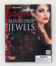 Halloween Pack of 10 Blood Drop Jewels Stick on Vampire Vampiress Nurse Bloody