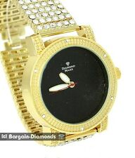 mens diamond maxx gold tone watch 6 row ice out bracelet black dial deluxe set