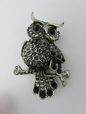 Black Crystal Owl Brooch Pin Vintage Inspired Design Burnished Silver Tone Metal