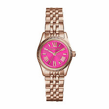MICHAEL KORS MK3285 PINK PETITE LEXINGTON WOMEN'S ROSE GOLD-TONE WATCH NIB $195