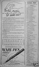 PUBLICITÉ 1923 WAHL PEN INSÉPARABLE DE L'EVERSHARP - ADVERTISING