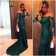 Emerald Green Lace Formal Prom Dresses Long Sleeve Sheer Neck Party Evening Gown