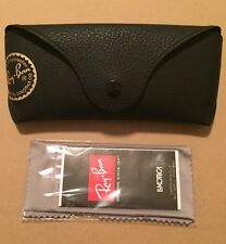 Ray Ban Black Leather Sunglasses Case Only -New- With Microfiber Cloth-