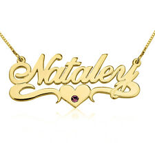 Swarovski Birthstone Name Necklace 24k Gold Plated Nameplate Pendant with Heart