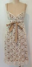 Diane Von Furstenberg DVF Lace Sleeveless Dress Ivory Taupe  SZ 0 XS Knee Length