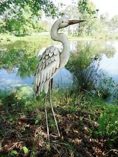 Garden Pond Egret Statue Metal Coastal Bird Sculpture Crane Heron Pool Yard Art
