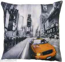 "FILLED QUIRKY NEW YORK  AMERICA MANHATTAN USA BLACK MULTI 18"" CUSHION"