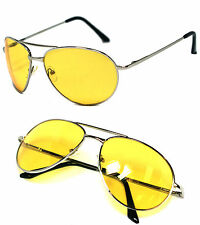 Night Driving Men Spring Hinge Aviator Sunglasses -Silver Frame/Yellow Lens AV02